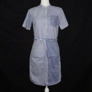 Lands' End Blue Stripe Short Sleeve Shirt …
